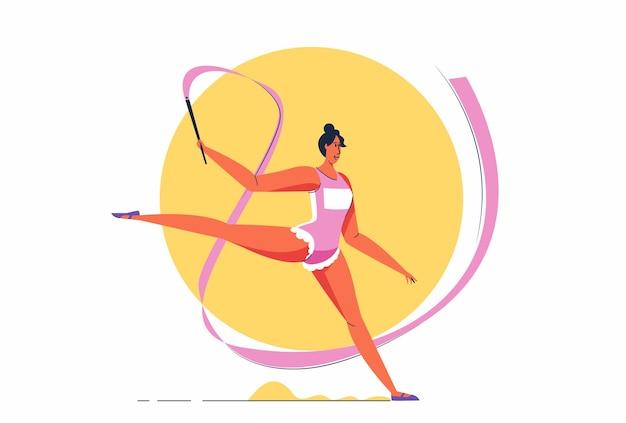 Atleta abstrata ginasta garota realizando elementos de ginástica rítmica com ilustração de fita