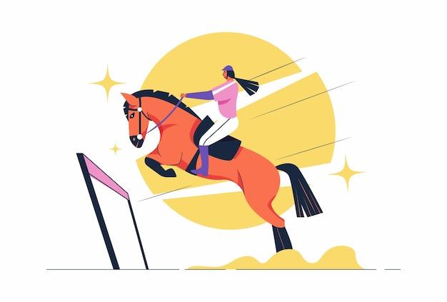 Atleta andando a cavalo em jogos de esporte do hipismo, desportista sentado na sela para andar a cavalo para a competição, em ilustração de personagem de desenho animado