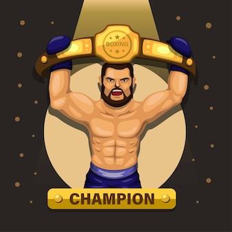 Atleta campeão de boxe com conceito de cinto premiado
