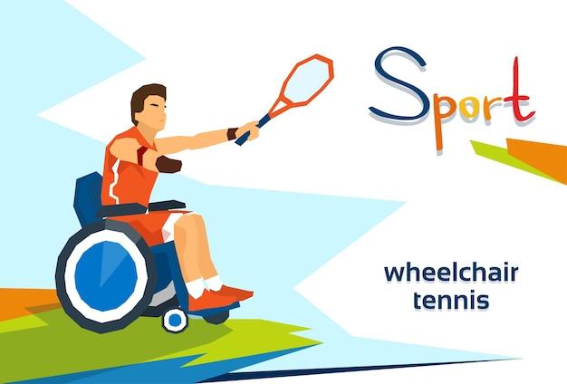 Atleta com deficiência em cadeira de rodas jogar tênis esporte competição
