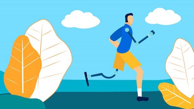 Atleta com deficiência formação plana vector illustration