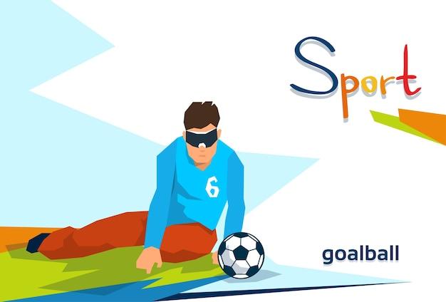 Atleta com deficiência jogar goal ball sport competition