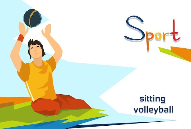 Atleta com deficiência jogar sentado competição de esporte de voleibol