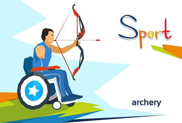 Atleta com deficiência na competição de esporte de tiro com arco de cadeira de rodas
