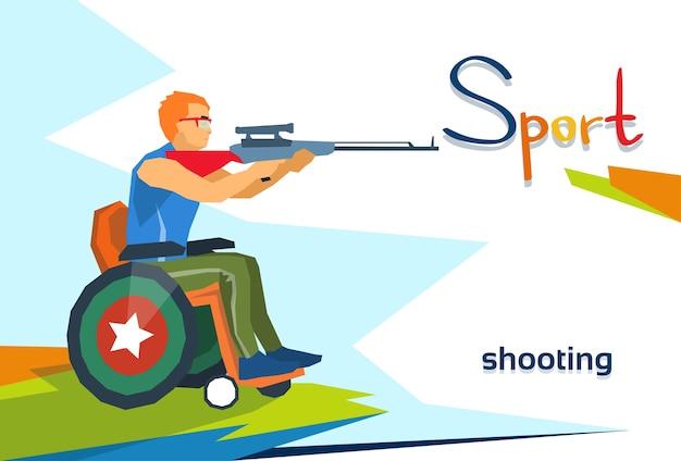 Atleta com deficiência na competição de esporte de tiro de cadeira de rodas