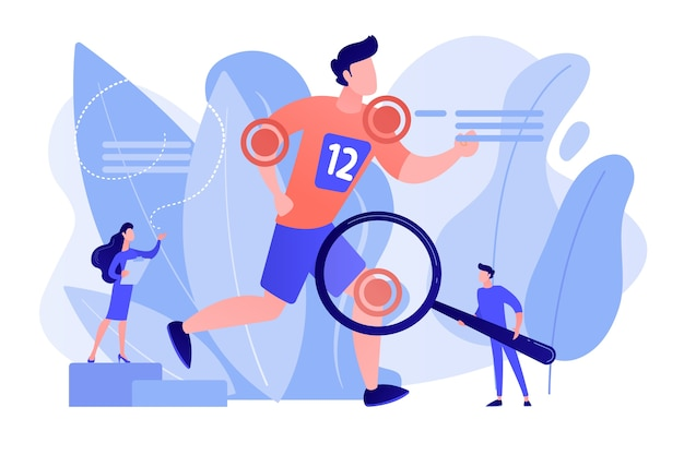 Atleta correndo e pequenos médicos tratando de lesões. medicina esportiva, serviços médicos esportivos, conceito de especialista de médico esportivo. ilustração em vetor de vetor azul coral rosado