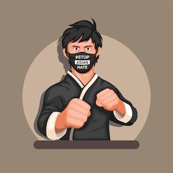 Atleta de artes marciais usando máscara com stop asian hate