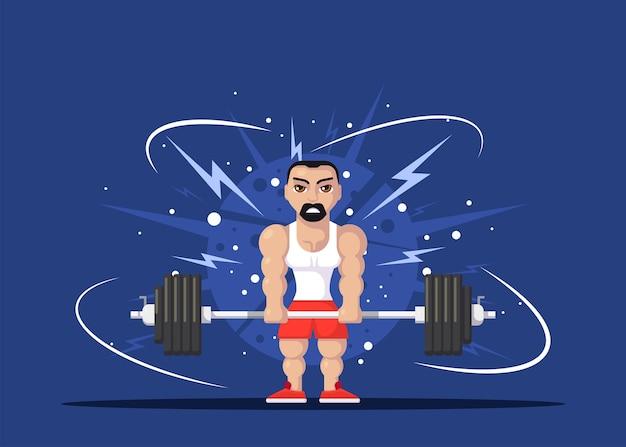 Atleta de homem forte, fazendo exercício de levantamento terra no ginásio. conceito de treino de ginásio. design de personagens de estilo simples.