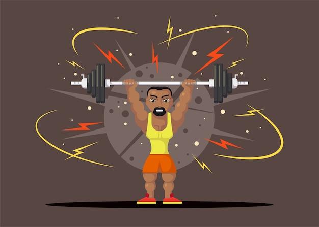 Atleta de levantamento de peso com barbilho fazendo agachamento e empurrão. conceito de treino de ginásio. design de personagens de estilo simples.