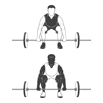 Atleta de levantamento de peso levantando uma barra. monocromático