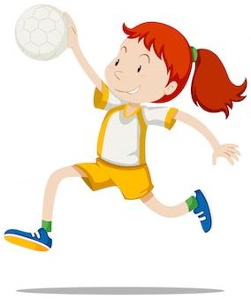Atleta de mulher jogando handebol