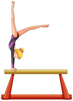 Atleta de mulher na barra de equilíbrio