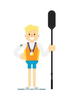Atleta de remo de barco a sorrir com medalha