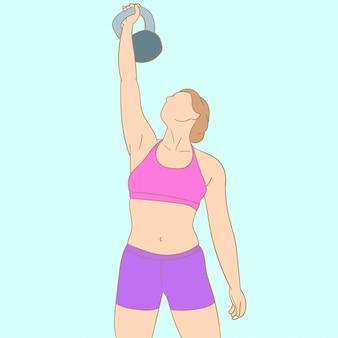 Atleta exercitar com sino de chaleira