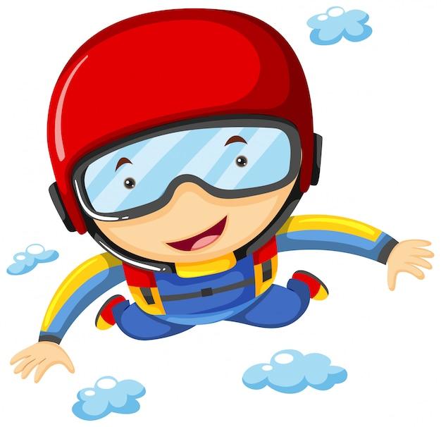 Atleta fazendo sky diving sozinho