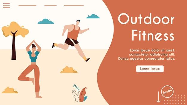 Atleta homem correndo no parque da cidade, mulher fazendo ioga asana