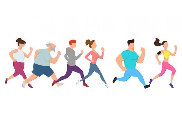 Atleta homem e mulher correndo.