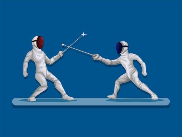 Atleta luta em esgrima combate esporte competição esporte ilustração vetorial