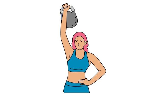 Atleta mulher forte com pesos