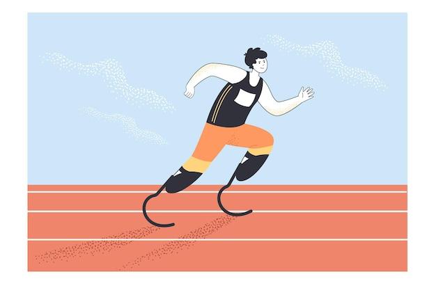 Atleta paralímpico executando ilustração plana