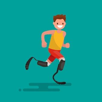 Atleta paraolímpico é executado na ilustração de próteses