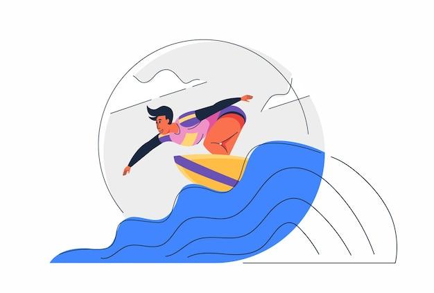 Atleta surfando com prancha de surf na competição das ondas do mar na ilustração do personagem de desenho animado