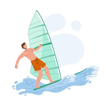Atleta surfista homem de windsurf no mar ondulado