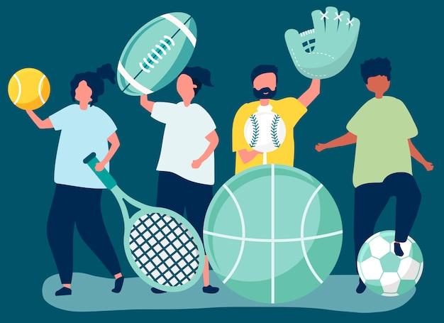 Atletas carregando ícones do esporte diferentes