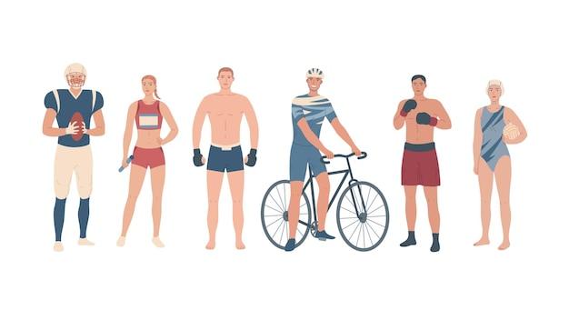Atletas de diferentes modalidades. jogadores de equipe, artes marciais e esporte individual.