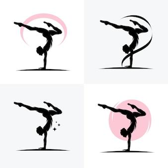 Atletas de ginástica rítmica, ícones do esporte, logotipos dos esportes