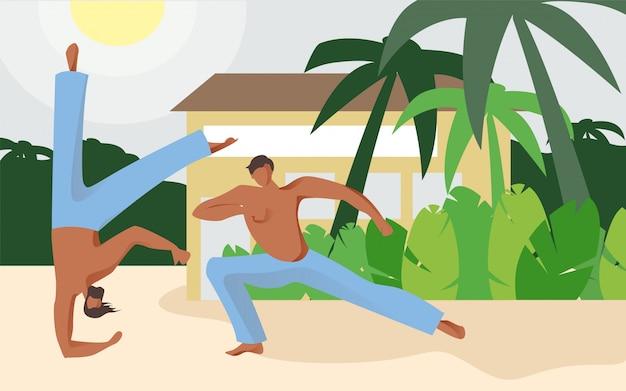 Atletas de homem na praia mostram acrobacias vector