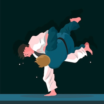 Atletas de jiu-jitsu lutando