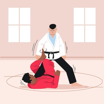 Atletas de jiu jitsu lutando