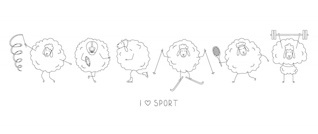 Atletas de ovelhas engraçadas. ícones de esportes dos desenhos animados.