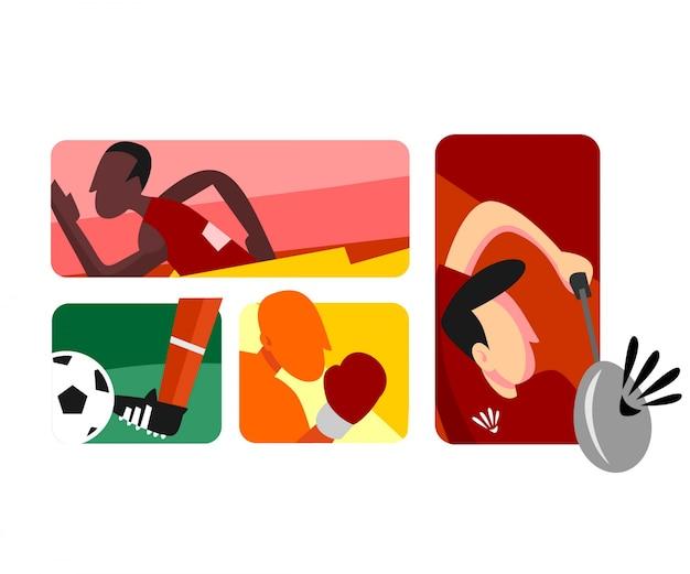 Atletas de vetor plana boxe futebol correndo e badminton