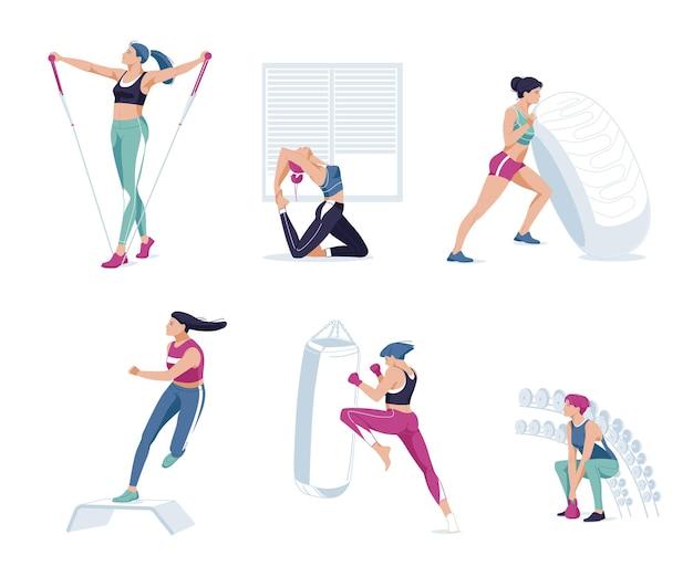 Atletas mulheres fazendo exercícios de treinamento no conjunto de ginástica. pessoas desportivas malhando levantando peso de halteres, correndo na esteira. esporte, bem-estar, malhação, corrida, preparação física. flat cartoon.