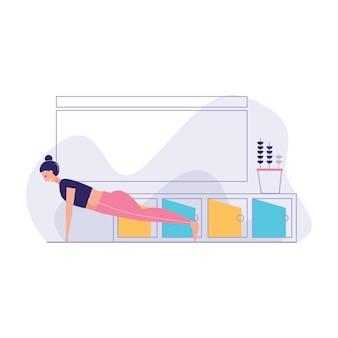 Atlética mulher fazendo push up