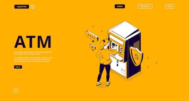 Atm, página de destino isométrica do caixa eletrônico