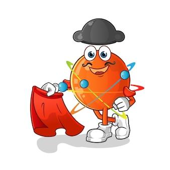 Atom matador com ilustração de pano vermelho.