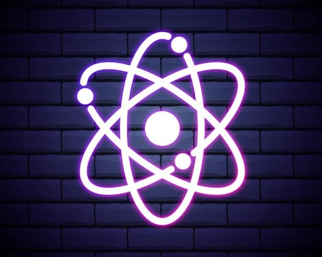 Átomo, ícone de contorno de química em estilo neon.