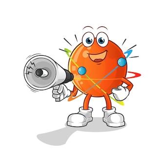 Átomo segurando alto-falantes de mão. personagem de desenho animado