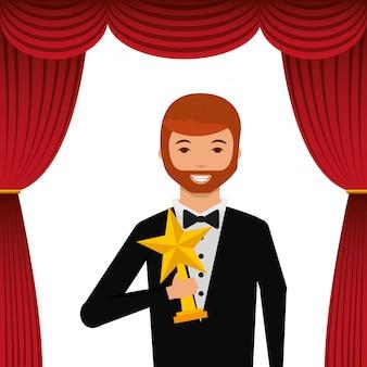 Ator vestindo smoking segurando prêmio de estrela de ouro