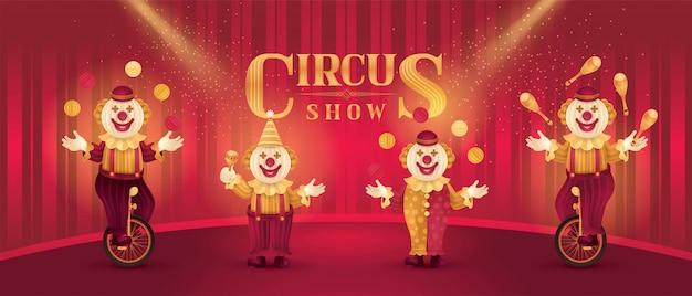 Atores de artistas de circo mostram conjunto, nariz de palhaços engraçados, traje de circo