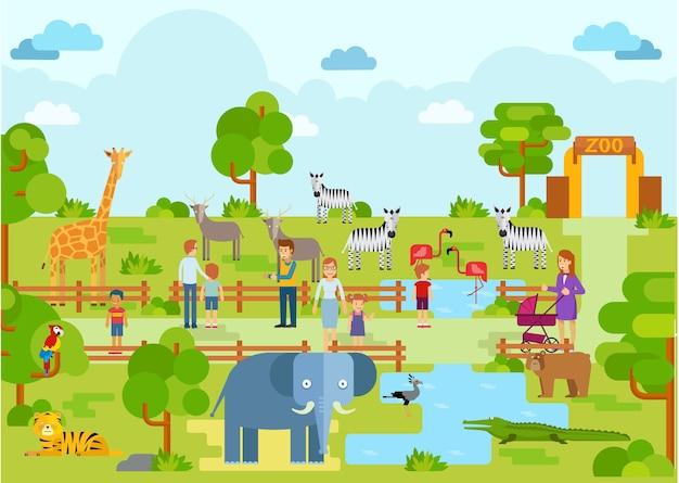 Atração animal do feriado do cenário da paisagem do jardim zoológico