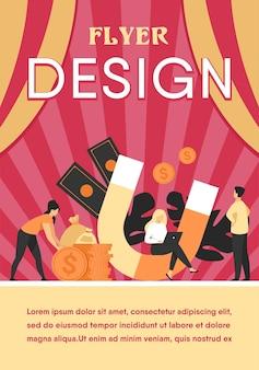 Atração de renda e dinheiro. pessoas com ímã obtendo dinheiro. modelo de folheto