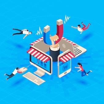 Atração do cliente da loja virtual