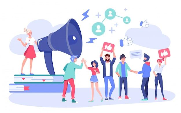Atração do seguidor de marketing digital de influenciador