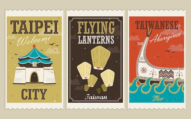 Atrações criativas de taiwan e selos culturais tradicionais em estilo simples