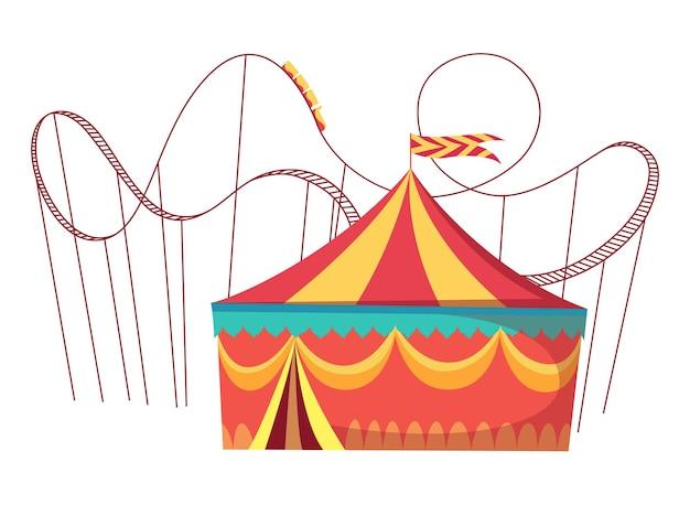 Atrações do parque de diversões com brinquedos de diversão na montanha-russa e tenda de circo redonda. ilustração vetorial no fundo branco.