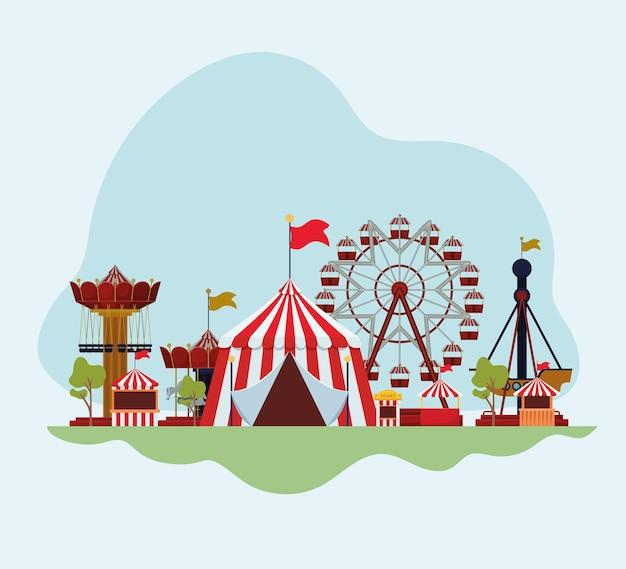 Atrações e ilustração da feira